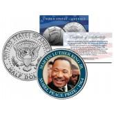 MARTIN LUTHER KING JR - 1964 NOBEL PEACE PRIZE - Colorized JFK Kennedy Half Dollar U.S. Coin