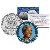 NELSON MANDELA - 1993 NOBEL PEACE PRIZE - Colorized JFK Kennedy Half Dollar U.S. Coin