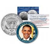 BARACK OBAMA - 2009 NOBEL PEACE PRIZE - Colorized JFK Kennedy Half Dollar U.S. Coin