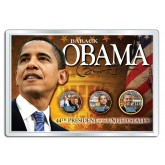 BARACK OBAMA 24K Gold Plated Presidential $1 & State Quarters 3-Coin US Set in 4x6 Display