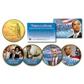 BARACK OBAMA 44th President 24KT Gold Plated HAWAII Statehood Quarter 4-Coin Set