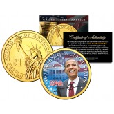 BARACK OBAMA - 44th President - Presidential $1 Dollar U.S. Coin 24K Gold Plated