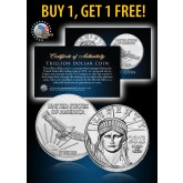 ONE TRILLION DOLLAR PROOF COIN Platinum Plated - BUY 1 GET 1 FREE - bogo