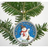 "MERRY CHRISTMAS "" Snowman "" 2014 JFK Kennedy Colorized Half Dollar US Coin in Ornament Capsule"