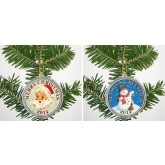 MERRY CHRISTMAS 2014 JFK Kennedy Colorized Half Dollar US 2-Coin Set in Ornament Capsules - Snowman & Santa Claus