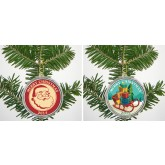 MERRY CHRISTMAS 2014 JFK Kennedy Colorized Half Dollar US 2-Coin Set in Ornament Capsules - Santa's Sleigh & Santa Claus