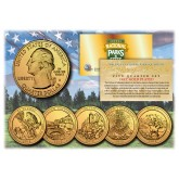2012 America The Beautiful 24K GOLD PLATED Quarters U.S. Parks 5-Coin Set with Capsules