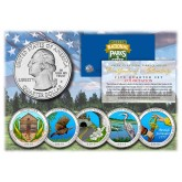 2015 America The Beautiful COLORIZED Quarters U.S. Parks 5-Coin Set with Capsules