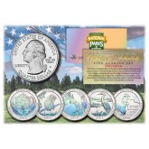 2015 America The Beautiful HOLOGRAM Quarters U.S. Parks 5-Coin Set with Capsules