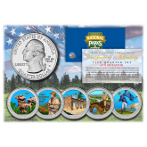 2016 America The Beautiful COLORIZED Quarters U.S. Parks 5-Coin Set with Capsules