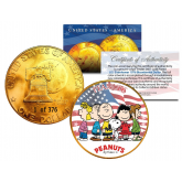 1976 PEANUTS SNOOPY * Original Gang * 24K Gold Plated IKE Dollar - Each Coin Serial Numbered of 376 - Officially Licensed