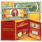 2019 Chinese New Year - YEAR OF THE PIG - Gold Hologram Legal Tender U.S. $2 BILL in Large Collectors Folio Display