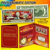 2019 Chinese New Year * YEAR OF THE PIG * POLYCHROMATIC 8 COLORIZED PIG'S U.S. $2 BILL in Large Collectors Folio Display