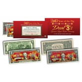 2019 YEAR OF THE PIG $1 & $2 Chinese New Year Lucky Money Set - DUAL 8's GOLD MATCHING PIG's in Premium RED LUNAR ENVELOPE – Limited & Numbered of 8,888 Sets Worldwide