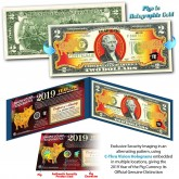 2019 Chinese New Year - YEAR OF THE PIG - Gold Hologram Legal Tender U.S. $2 BILL - $2 Lucky Money with Blue Folio