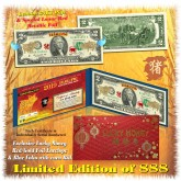 24KT GOLD 2019 Chinese New Year - YEAR OF THE PIG - Legal Tender U.S. $2 BILL * Limited & Numbered of 888 * $2 Lucky Money *