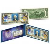 PISCES - Horoscope Zodiac - Genuine Legal Tender Colorized U.S. $2 Bill