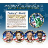 2010 Presidential $1 Dollar U.S. COLORIZED - Complete 4-Coin Set - with Capsules