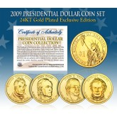 2009 Presidential $1 Dollar U.S. 24K GOLD PLATED - Complete 4-Coin Set - with Capsules