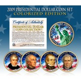 2009 Presidential $1 Dollar U.S. COLORIZED - Complete 4-Coin Set - with Capsules