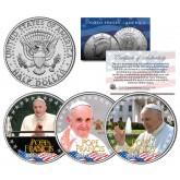 POPE FRANCIS - 2015 U.S. Visit - Colorized 2015 JFK Half Dollar 3-Coin U.S. Set