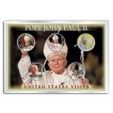 POPE JOHN PAUL II - Visits to USA - Colorized U.S. Statehood Quarters 5-Coin Set