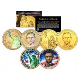 2010 ABRAHAM LINCOLN Presidential $1 Dollar US 3-Coin Set - Hologram & Colorized & 24K Gold Plated