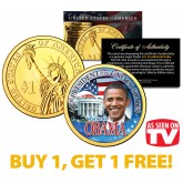BARACK OBAMA Presidential $1 Dollar Coin 24K Gold Plated - AS SEEN ON TV - BUY 1 GET 1 FREE - bogo