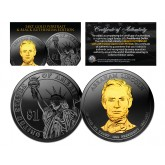 Black RUTHENIUM 2010 Abraham Lincoln Presidential $1 Dollar U.S. Coin with 24K Gold Clad Lincoln Portrait