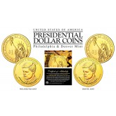 24K Gold Plated JOHN F KENNEDY 2015 Presidential $1 Dollar 2-Coin Set - P&D MINT