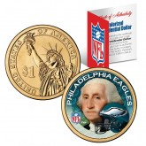 PHILADELPHIA EAGLES NFL Presidential $1 Dollar US Colorized Coin - Officially Licensed