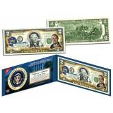 FRANKLIN D ROOSEVELT * 32nd U.S. President * Colorized Presidential $2 Bill U.S. Genuine Legal Tender