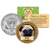 PUG Dog JFK Kennedy Half Dollar U.S. Colorized Coin