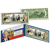 VLADIMIR PUTIN Colorized $2 Bill - Legal Tender U.S. Currency - President of Russia
