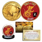 2020 Chinese New Year * YEAR OF THE RAT * 24 Karat Gold Plated $50 American Gold Buffalo Indian Tribute Coin