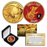 2020 Chinese New Year * YEAR OF THE RAT * 24 Karat Gold Plated $50 American Gold Buffalo Indian Tribute Coin with DELUXE BOX