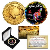 2020 Chinese New Year * YEAR OF THE RAT * 24 Karat Gold Plated $50 American Gold Buffalo Indian Tribute Coin with DELUXE BOX - PolyChrome
