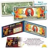 2020 Chinese New Year - YEAR OF THE RAT - Gold Hologram Legal Tender U.S. $2 BILL - $2 Lucky Money with Blue Folio
