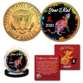 2020 Chinese New Year * YEAR OF THE RAT * 24K Gold Plated JFK Kennedy Half Dollar U.S. Coin - PolyChrome