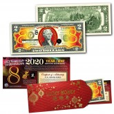 2020 Chinese New Year - YEAR OF THE RAT - LUCKY NUMBER 8 Gold Hologram Legal Tender U.S. $2 BILL - $2 Lucky Money with Red Envelope