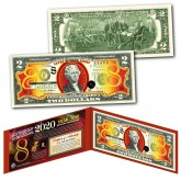 2020 Chinese New Year - YEAR OF THE RAT - LUCKY NUMBER 8 Gold Hologram Legal Tender U.S. $2 BILL - $2 Lucky Money with Red Folio