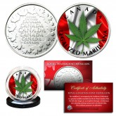 CANADA LEGALIZED MARIJUANA Colorized RCM Royal Canadian Mint Medallion Coin