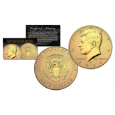 2016 JFK Kennedy Half Dollar U.S. Coin Uncirculated with Reverse Mirrored Imaging & Frosting Technology – 24KT GOLD EDITION * D MINT *