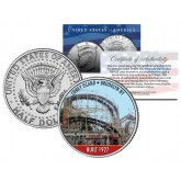 CONEY ISLAND CYCLONE Roller Coaster - Colorized JFK Kennedy Half Dollar U.S. Coin - BROOKLYN NY