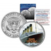 RMS Titanic Ship - Anniversary - JFK Kennedy Half Dollar US Colorized Coin