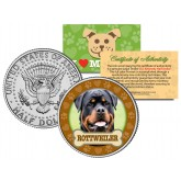 ROTTWEILER Dog JFK Kennedy Half Dollar U.S. Colorized Coin
