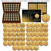 1999-2009 Complete 24K GOLD Plated Statehood Quarter 56-Coin Set in Premium Cherry Wood Display Box with COA
