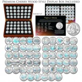 1999-2009 Complete HOLOGRAM Statehood Quarter 56-Coin Set in Premium Cherry Wood Display Box with COA