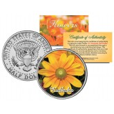 RUDBECKIA FLOWER JFK Kennedy Half Dollar U.S. Colorized Coin