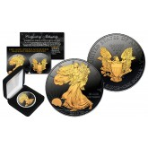 Black RUTHENIUM 1 Oz .999 Fine Silver 2018 American Eagle U.S. Coin with 2-Sided 24K Gold clad and Deluxe Felt Display Box